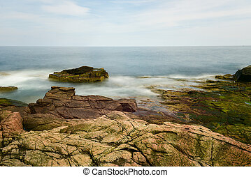 Thunder Hole - Acadia National Park - The rocky coast in...