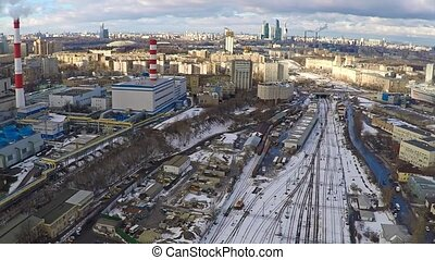 Moscow industrial and residential areas in winter, aerial...