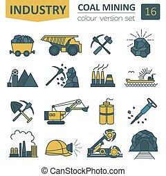Coal mining icon set Colour version design Vector...