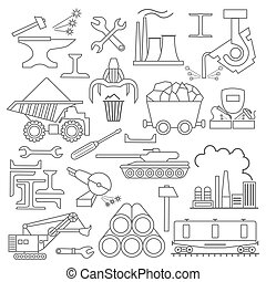 Metallurgy icon set Thin line icon design Vector...