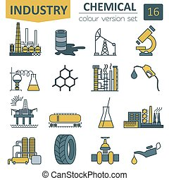 Chemical industry icon set. Colour version design. Vector...