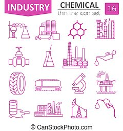 Chemical industry icon set. Thin line icon design. Vector...