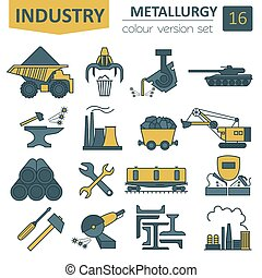 Metallurgy icon set Colour version design Vector...