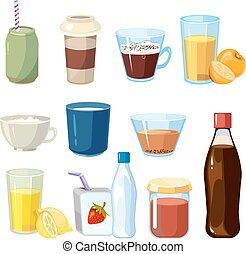 Non-alcoholic beverages vector set in cartoon style....