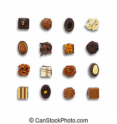Chocolate candys set - Top view of chocolate candys isolated...