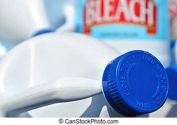 Bleach Jugs - Close up shot of some bleach jugs.