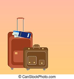 Travel suit cases with Passport. Travel background. Vector illustration