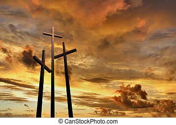 Cruces, encima, tres, brillante, ocaso, colina