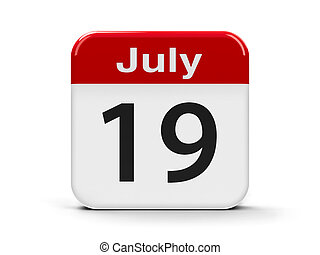 19th July - Calendar web button - The Nineteenth of July,...
