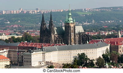 View of ancient roofs and bridges through Vltava Prague...