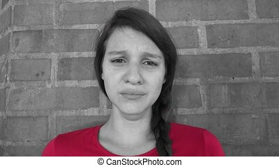 Tearful And Distraught Teen Girl