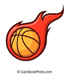Basket Ball With Flames Icon Symbol - Vector stock of basket...