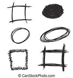 Doodle Hand drawn frames set. Vector illustration