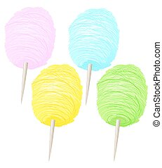 Colorful Sweet Soft Cotton Candy Collection - Vector stock...