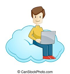 Man Sitting Working With Laptop On A Cloud - Vector stock of...