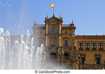 Plaza de Espana in Seville, Spain - Plaza de Espana is one...