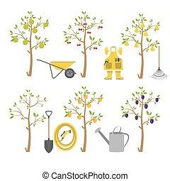Fruit trees. Garden. Icon set