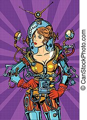 Beautiful futuristic girl in a sexy space suit pop art retro...