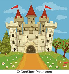 medieval castle on hill - Vector illustration of a medieval...