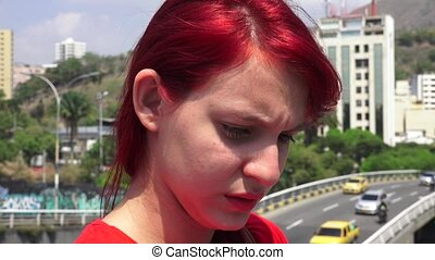 Young Teen Redheaded Girl Tearful And Unhappy