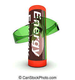 Rechargable Battery - 3D rendered Illustration. Isolated on...