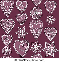 Hearts of snowflakes pattrrn - Snowflakes and hearts of...