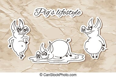 Pig's Lifestyle - Pigs on the old paper background.
