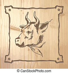 Bull on the wooden background
