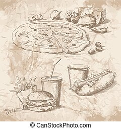 Pictures for the menu of fast-food - Hand drawn pictures for...