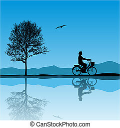 Vector Landscape - A Vector Landscape with Bicycle