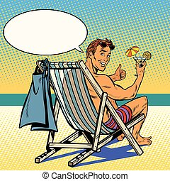 Handsome man resting on the beach pop art retro vector The...
