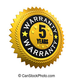 5 Years Warranty Sign isolated on white background 3D render...