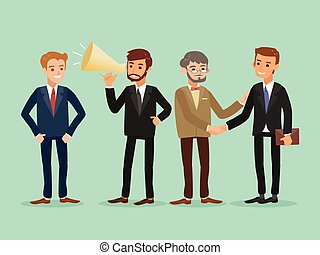 happy hipster caucasian business people standing cartoon...