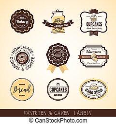 Vintage bakery logo labels and frames - Vector set of...