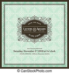 Vintage Wedding invitation frame template