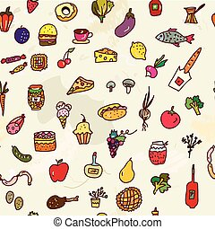 Food seamless graphic pattern, funny design.
