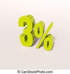 Percentage sign, 3 percent - 3d render: green 3 percent,...