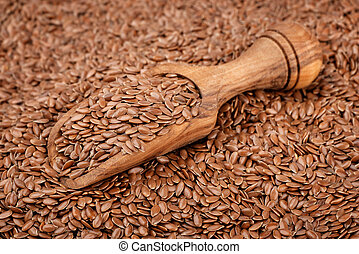 Lin seeds - Wooden scoop with lin seeds