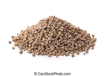 Compound Feed - Pile of compound feed pellets isolated on...