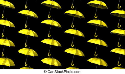 Yellow Umbrellas On Black Background. Loop able 3DCG render...