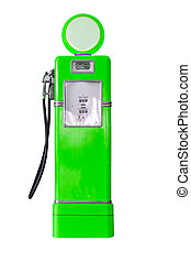 Vintage green fuel pump on white - Old green petrol gasoline...