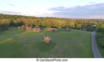Ukrainian Pirogovo village with ancient authentic houses....