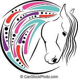 Horse head color - vector