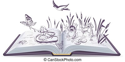 Open book tale Thumbelina Vector cartoon illustration