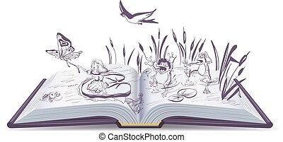Open book tale Thumbelina. Vector cartoon illustration