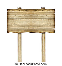 古い, 木製である, 隔離された, 印, 木, 白, 板