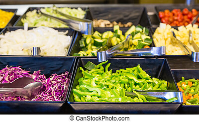 Salad Bar Vegetables - Fresh vegetables in stainless steel...