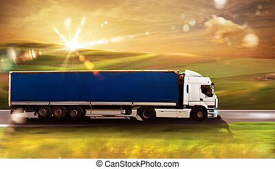 Truck transport - Transport truck on road with natural...