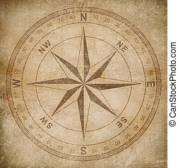 old wind or compass rose on grunge paper background