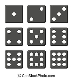 Black Dice Set on White Background. Vector